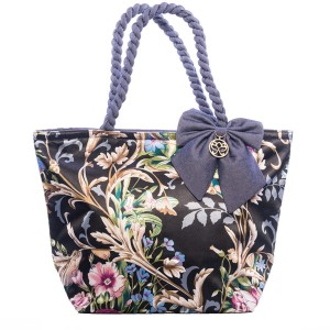FLOWERS ON A DARK BACKGROUND DOLORES SHOPPER BAG