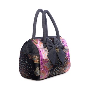 KAREN HANDBAG IN ORIENTAL PEACOCK EYE PATTERN