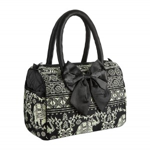 BLACK KAREN HANDBAG IN ELEPHANT PATTERN