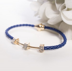 NAVY BLUE BRAIDED FEBE BRACELET WITH ZIRCONS