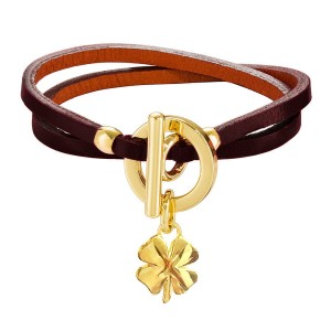 BURGUNDY GALATEA LEATHER BRACELET