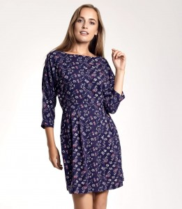 CLASSICAL NAVY BLUE FLORAL PRINTED AUDREY DRESS WITH A CLEAVAGE ON THE BACK