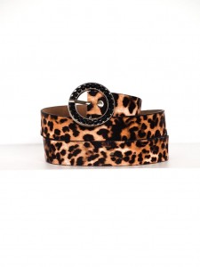LEOPARD PRINT MELANIE BELT WITH SILVER BUCKLE