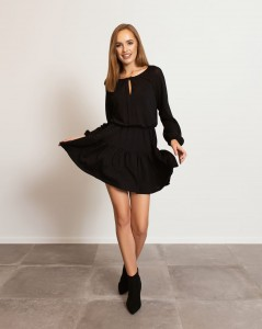 BLACK CAMILLE DRESS WITH FLOUNCE