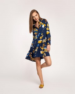 RETRO FLOWERS NAVY BLUE LIVIA SHIRT DRESS