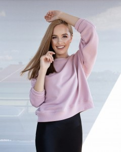 SIDNEY COTTON SWEATSHIRT WITH LONG SLEEVES IN PINK