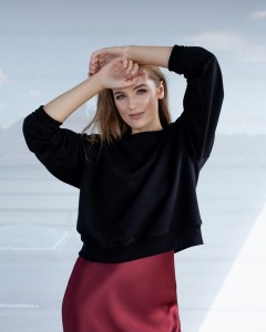 SIDNEY COTTON SWEATSHIRT WITH LONG SLEEVES IN BLACK
