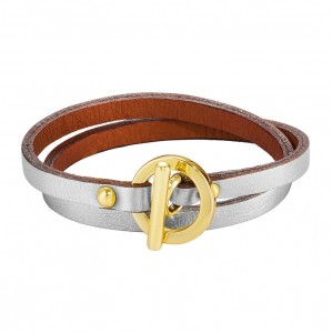 SILVER DAPHNIS LEATHER BRACELET