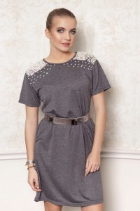 DARK GREY COTTON PEARL DRESS