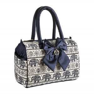 DARK BLUE KAREN HANDBAG IN ELEPHANT PATTERN