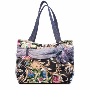 FLOWERS ON A DARK BACKGROUND CARMEN SATIN BAG
