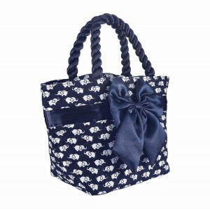 NAVY BLUE ELEPHANTS PRINT NINA COTTON COSMETIC BAG