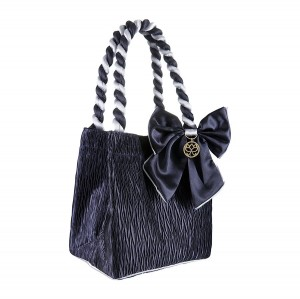 NAVY BLUE SATIN STELLA COSMETIC BAG