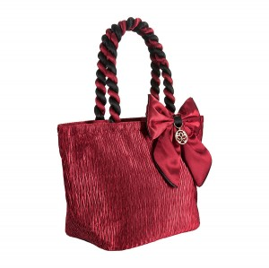 RED SATIN ANA BAG/COSMETIC BAG