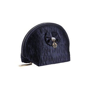 NAVY BLUE SATIN INEZ MAKE UP BAG