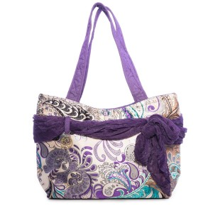 VIOLET FLOWERS ON A LIGHT BACKGROUND CARMEN SATIN BAG