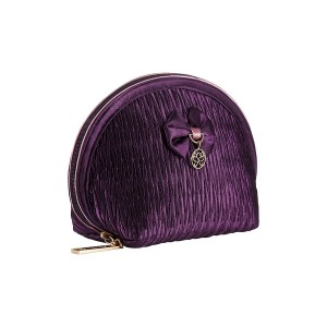 PURPLE SATIN INEZ MAKE UP BAG