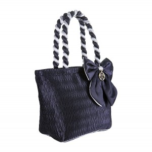 NAVY BLUE SATIN ANA BAG/COSMETIC BAG
