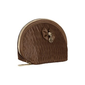 BROWN SATIN INEZ MAKE UP BAG