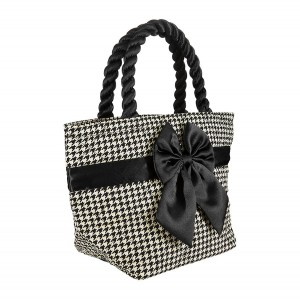 BLACK AND WHITE CHECKED NINA COTTON COSMETIC BAG