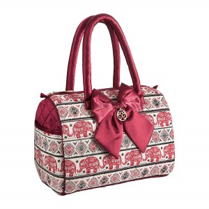 RED KAREN HANDBAG IN ELEPHANT PATTERN