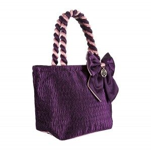 PURPLE SATIN ANA BAG/COSMETIC BAG