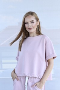 MIAMI COTTON SWEATSHIRT WITH SHORT SLEEVES IN A PINK COLOR