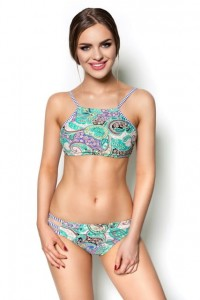 TURQUOISE PAISLEY PRINTED TWO-PIECE LILO SWIMSUIT