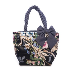FLOWERS ON A DARK BACKGROUND ANA SATIN BAG