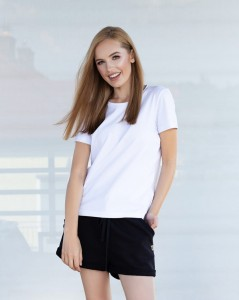 WHITE COTTON BASIC T-SHIRT LEA