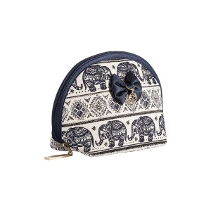NAVY BLUE ELEPHANTS ON A WHITE BACKGROUND KIKA MAKE UP BAG