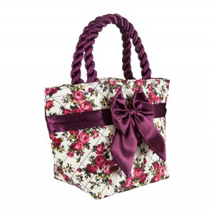 PURPLE ROSES PRINT ROMA COTTON COSMETIC BAG