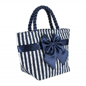 BLUE AND WHITE STRIPES ROMA COTTON COSMETIC BAG