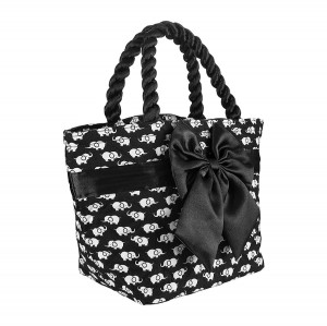 BLACK AND WHITE CHECKED ROMA COTTON COSMETIC BAG